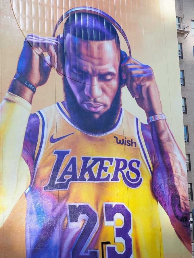 A mural of Lebron James at the Figueroa Hotel in Los Angeles, California.